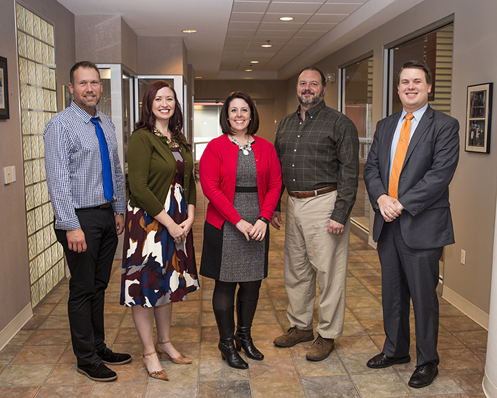 2015 Excellence in Education Winners, from left to right: Michael Holik, Jennifer Bump, Autumn Porter, David Fotopulos, Matt Simpson