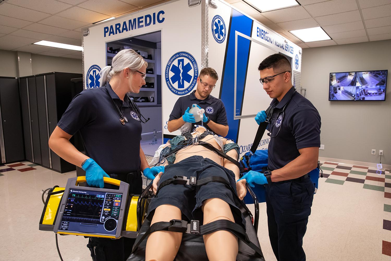 Paramedicine Program Students Work In The Ambulance Simulation Lab.